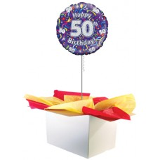 "50th Birthday Multi Colour 18"" Foil Balloon"