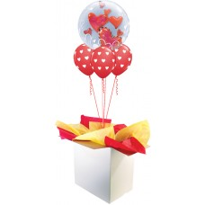 Red Floating Hearts Double Bubble Bouquet