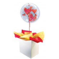 "Red Floating Hearts 24"" Double Bubble Balloon"